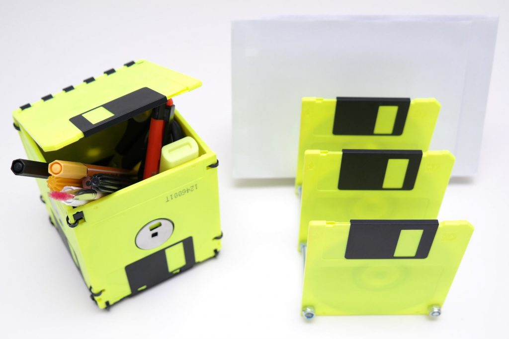 3,5-Zoll Floppy Disk Set in Neon-Gelb