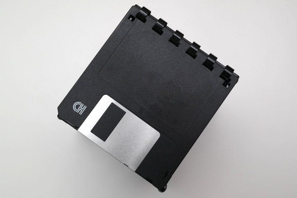 3 ½ Zoll Disketten-Box, Ansicht von oben mit geschlossenem Deckel
