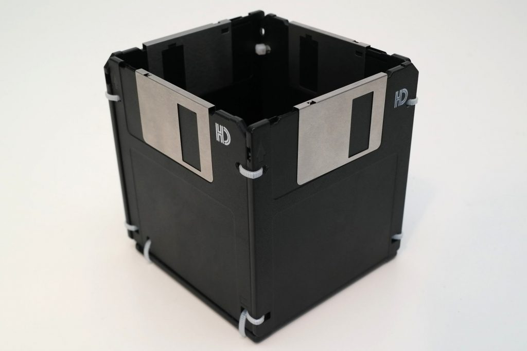 3,5-Zoll Disketten Stifthalter, Schwarz/Silber