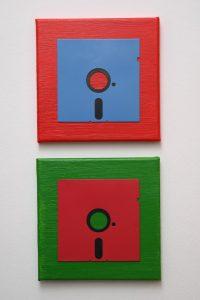 5 ¼ Zoll Floppy Disk Duo in Blau, Rot und Grün