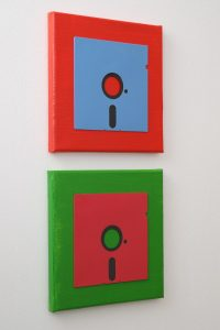 Acryl-Leinwand mit farbigen 5,25-Zoll Disketten