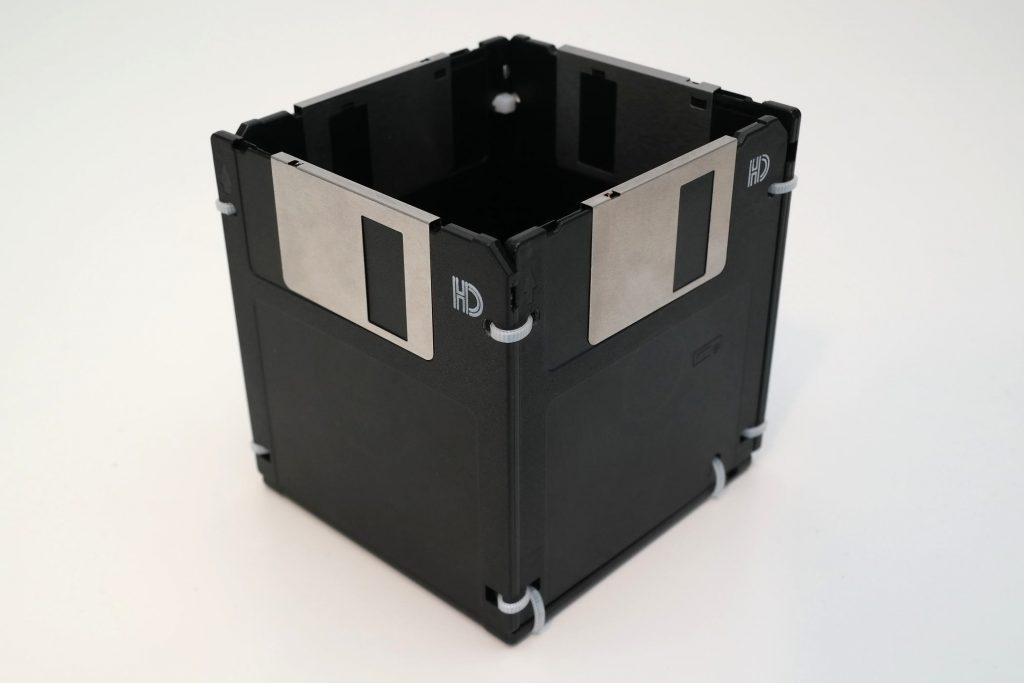 Disketten als Aufbewahrungsort für Stifte und Kleinkram