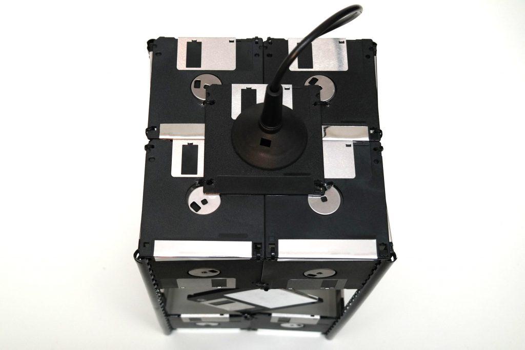 Disketten-Deckenlampe, Ansicht von oben