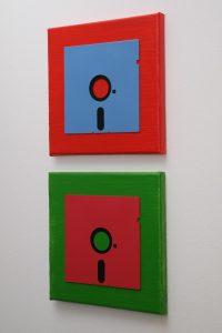 Disketten-Wandbild: 5.25 Zoll Floppy Disk Kunstwerk