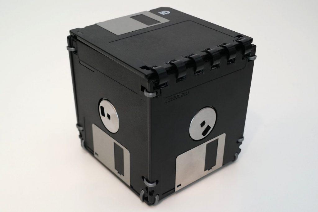 Floppy-Disk-Box, 3,5-Zoll in Schwarz und Silber