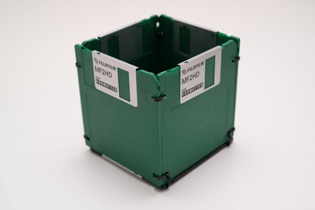 Grüne 3,5-Zoll Disketten als Stifthalter