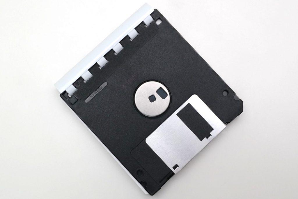 Unterseitedes 3,5-Zoll Floppy-Disk-Blocks, Ansicht von oben